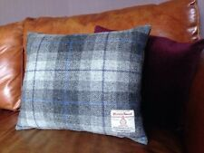 "2 Harris Tweed Cushion Covers Grey Purple Blue 18"" Rectangle Velvet Luxury Check"