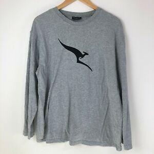 Qantas Business Class Pyjama Shirt Size L/XL Grey Kangaroo Top PJ Peter Morissey
