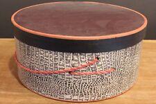 Vintage round paper hat box black pattern 13 inch x 6 inch