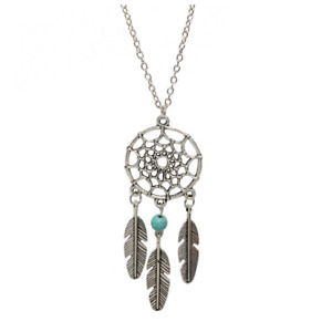 Silver Tone Dream Catcher Pendant Necklace Blue Bead