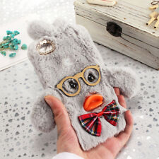 Adorable Duck Fluffy Fur TPU Shell Phone Case Back Cover for Huawei Mobile Phone
