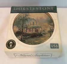Set Of 4 Thomas Kinkade The Village Inn Thirststone Natural Sandstone Coasters