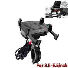 Aluminium Motorcycle Phone Holder Mount QC3.0 Fast USB Charger IP66 3.5-6.5inch