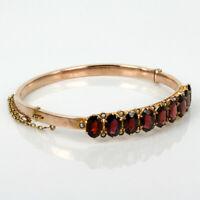 "Buy Antique 18k Rose Gold Over Garnet and Pearl Bangle in 7.5"" Bracelet Sold Out"