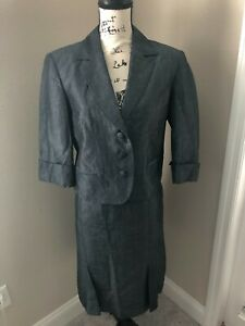 DAVID N LINEN SKIRT SUIT - SIZE 0 - FULLY LINED