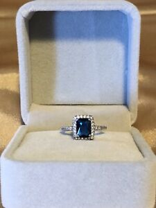 blue And White sapphire ring size 6
