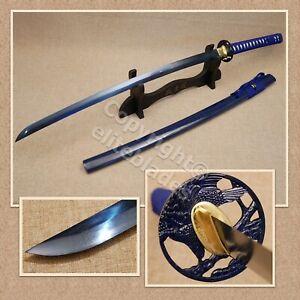 Musashi Hand Forged Folded BLUE Damascus Steel Samurai Katana Sword Razor Sharp