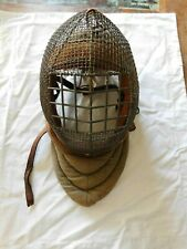 Vintage RARE Wire and Leather Fencing Helmet Face shield
