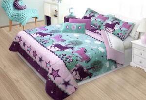 Purple Pony & Horses Girls Full / Queen Comforter & Shams Set, 3 Piece Bedding