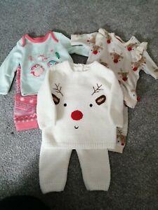 Newborn/Tiny Baby Christmas Bundle (2 outfits & 1 pajamas)