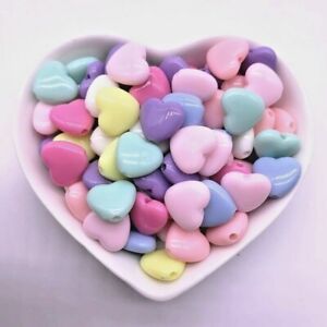 30 Pcs Heart Beads Jewelry Making Acrylic Mix Colorful Shapes DIY Accessories