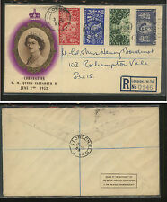 Great Britain, London 313-16 on registered cover coronation Kl0809