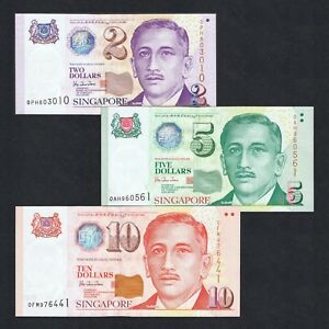 SET 1999 SINGAPORE 2 5 10 DOLLARS P-38 39 40 UNC> >GARDEN CITY SPORTS HU TSU TAU