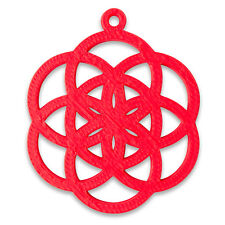 """3D Printed """"Seed of Life"""" 38mm Pendant Red Sacred Geometry New Age"""