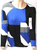 Tribal Women's L/s Scoop Neck Top White Blue Black X-Small XS New NWT