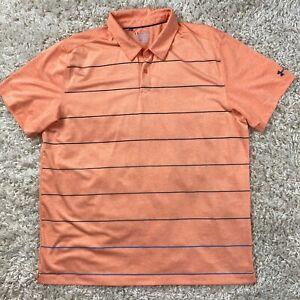Under Armour Men's XXL Orange Striped Short Sleeve Golf Polo Shirt