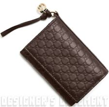 GUCCI brown GUCCISSIMA leather BREE Interlocking G Charm card case NIB Auth $325