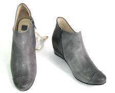 M + F GIRBAUD - Botines botas bajas de cuña PIEL cuero gris dye 40 - NUEVO CAJA