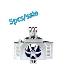 K218-5pcs Bulk Sale ! Silver 22mm Camera Beads Pearl Cage Locket (8mm)