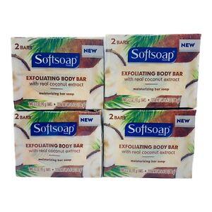 8x Softsoap exfoliating Body soap Bar w/ coconut extract Moisturizing  (4 pack)