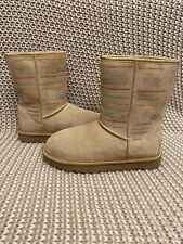UGG Classic Short Serape Crystal Bling Swarovski Sand Suede Boots Size 6 Womens