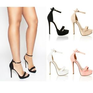 Womens Ladies High Stiletto Heel Platform Ankle Strap Party Prom Sandals Shoes