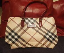 Burberry tote handbag. Nova check style. Classic checked style. Medium size.