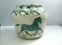 Vintage Stoneware Clay Horse Vase Studio Art Pottery Signed Green Cream Speckle