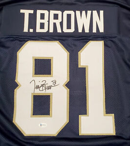 NOTRE DAME TIM BROWN AUTOGRAPHED SIGNED BLUE JERSEY BECKETT BAS 185889