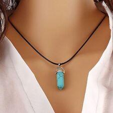 Healing Point Natural Quartz GEMSTONE Rock Crystal Chakra Stone Pendant Necklace Blue Turquoise