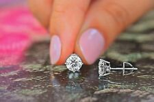 1.4Ct Round Earrings Studs 14K White Gold Fn 925 Brilliant Cut Screw Back Basket