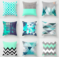 45×45cm Polyester Cushion Cover Sofa Throw Pillow Case Green Blue Teal Checked