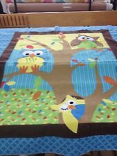 OWLS 3D Embroidered Flannel Fabric Quilt Top Panel For Baby Or Toddler