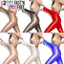 High Gloss Pantyhose Tights Oil Shiny Stocking Hosiery Open/Crotchless Plus Size