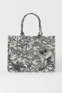 H&M JACQUARD WEAVE LARGE BAG HANDBAG BLACK & CREAM LIMITED EDITION BRAND NEW