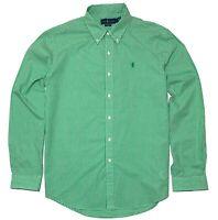 Ralph Lauren Mens Slim Fit Shirt Green White Checked XL/TG - Genuine