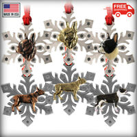 Pewter Boston Terrier Snowflake Christmas Tree Ornaments, Made in the USA