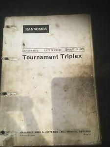 Ransomes Parts List Manual For Tournament Triplex Mower