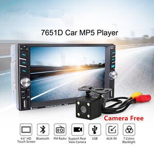 "6.6"" HD Touch Screen Car MP5 Media Player  2 DIN Blueteeth FM Stereo Dual USB TF"