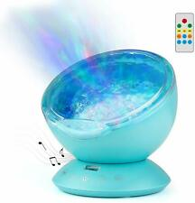 Remote Control Ocean Wave Projector Night Light Kids Relaxing Sounds LED Lamp