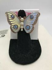 Betsey Johnson Rose Gold White Butterfly Faux Pearl Ring Size 7.5 Bkk24