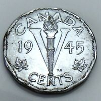 1945 Canada 5 Five Cents Nickel Canadian Uncirculated Coin E850