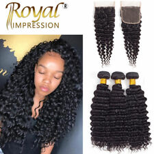 3 Bundles With Closure 100% Unprocessed Peruvian Human Hair Extensions Deep Wave
