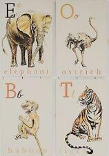 Pottery Barn Kids Animal Flashcard Wall Art Set SET/4 ~NEW IN BOX, REDUCED PRICE