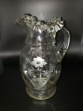 Antique Victorian Dugan,Fenton? Blown Glass Ruffled Etched Floral Ribbed Pitcher