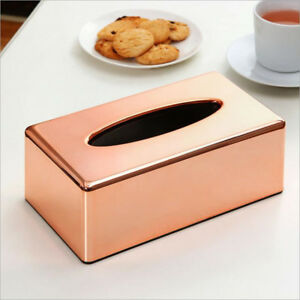 Office Car Tissue Box Napkin Holder Home Organizer Storage Case Rose Gold