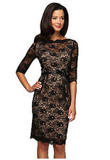 Reduced Alex Evenings Black Over Nude Lace Low-Back Illusion Cocktail Dress 10