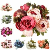 Artificial Peony Silk Fake Flower Bridal Hydrangea Home Wedding Bouquet Decor KJ