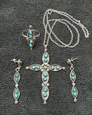 Vintage Native American Jewelry Zuni Inlay Silver Turquoise Cross Necklace Etc