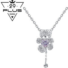 Cute Lovely 18K White Gold Filled Crystal Teddy Bear Pendant Necklace Gift